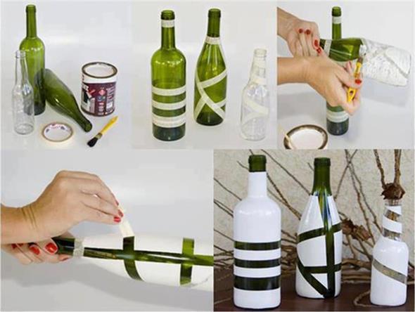 Pintura em garrafas de vidro com fita adesiva 002