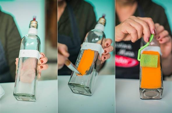 Pintura em garrafas de vidro com fita adesiva 003