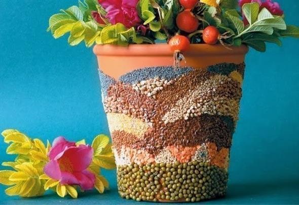 Vasos decorados com artesanato 004