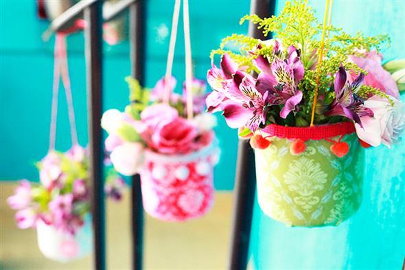 Vasos decorados com artesanato 007