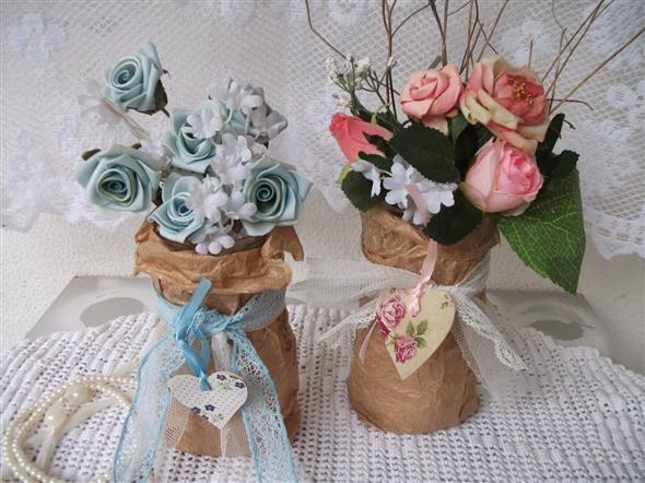 Vasos decorados com artesanato 009