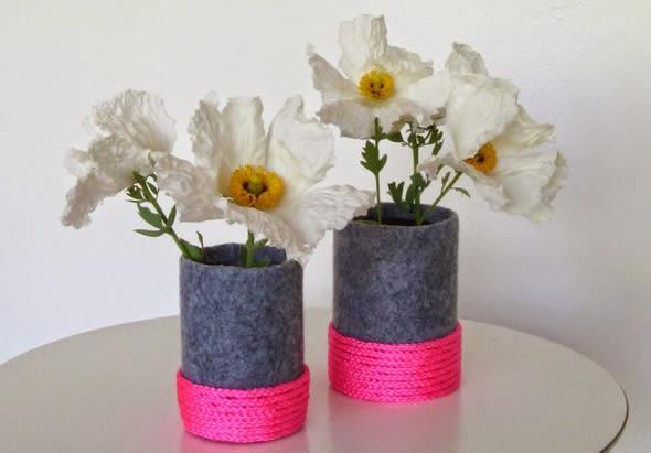 Vasos decorados com artesanato 015
