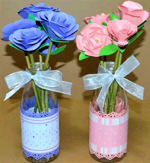 Vasos decorados com artesanato 016