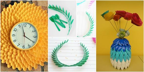 Artesanato criativo com colheres de plástico 002