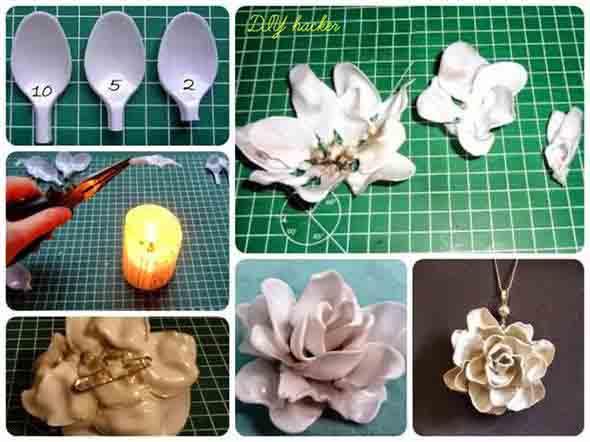 Artesanato criativo com colheres de plástico 012