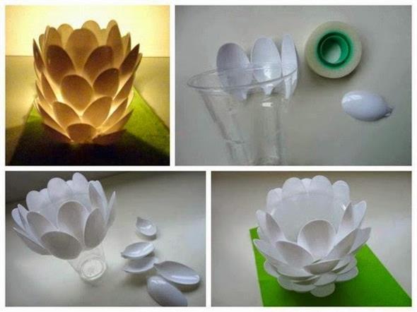 Artesanato criativo com colheres de plástico 014