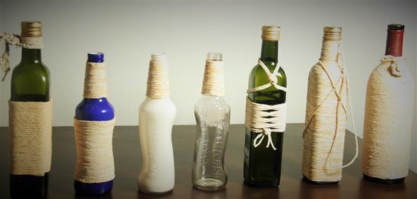 Enfeitar garrafas com linha, sisal e barbante 017
