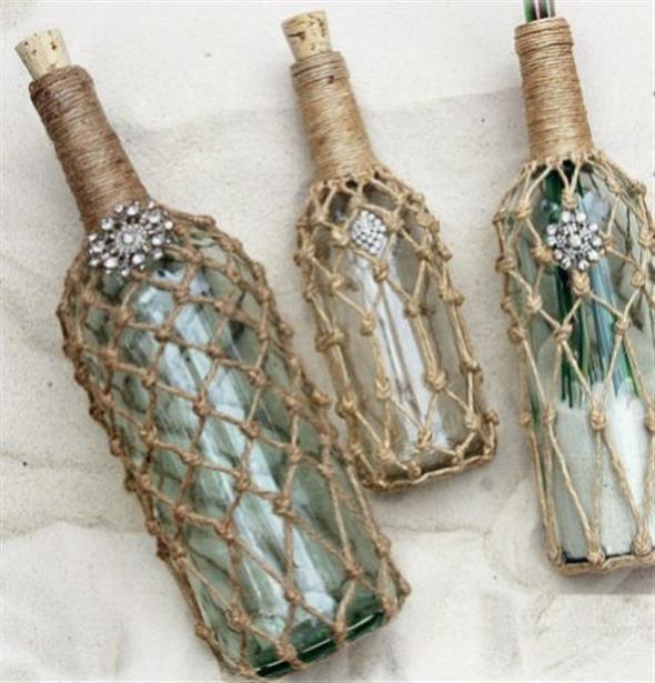 Enfeitar garrafas com linha, sisal e barbante 018