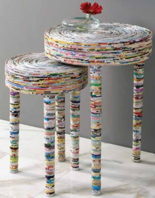Ideias de artesanato e reciclagem com jornais e revistas for Paper mache furniture ideas