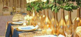 Decoração de final de ano com garrafas de vidro