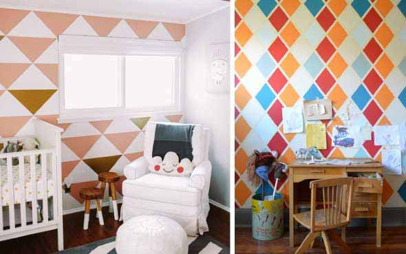 Diy como fazer estampas geom tricas nas paredes for Paredes decoradas con pintura