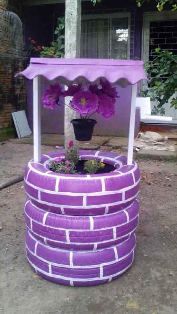 Adhesivo De Bicicletas ~ Dicas para fazer artesanato de jardim com pneus