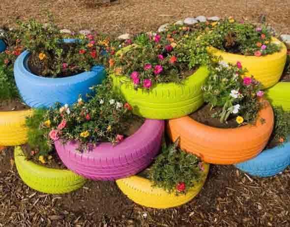 Artesanato Em Argila ~ Dicas para fazer artesanato de jardim com pneus