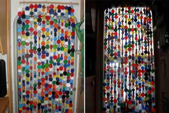 cortina Artesanal de bolinhas