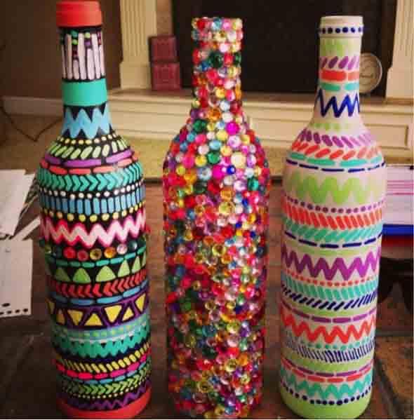 Aparador Jacauna ~ Dicas DIY de artesanato com garrafas de vidro