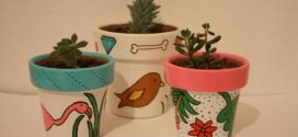 Pintura criativa em vasos artesanais