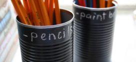 Potes, latas e garrafas personalizadas com tinta lousa