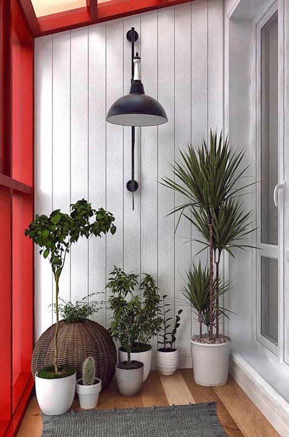 Tipos de plantas para varandas de apartamento -> Decoração De Varanda Com Vasos De Plantas