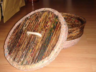 Como fazer cesto de jornal 09