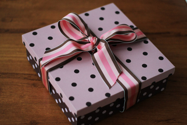 Caixa de presente forrada com tecido 01