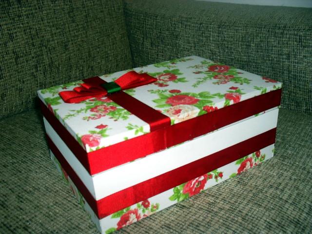 Caixa de presente forrada com tecido 02