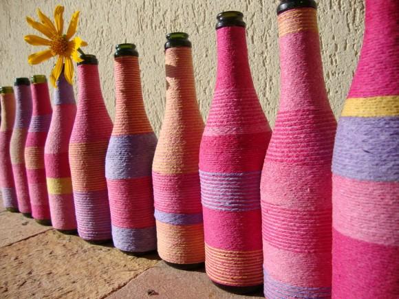 Enfeites de mesa com garrafa de vidro 005