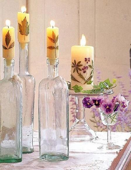 Enfeites de mesa com garrafa de vidro 012