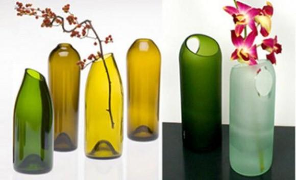 Enfeites de mesa com garrafa de vidro 015