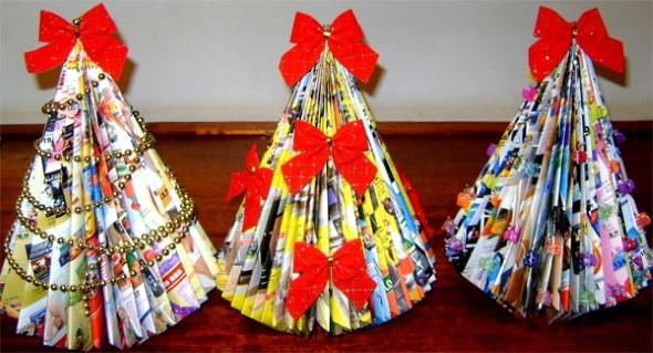 Como fazer árvore de natal artesanal 013