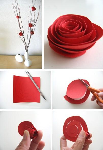 Como fazer flor de papel para decoração 05