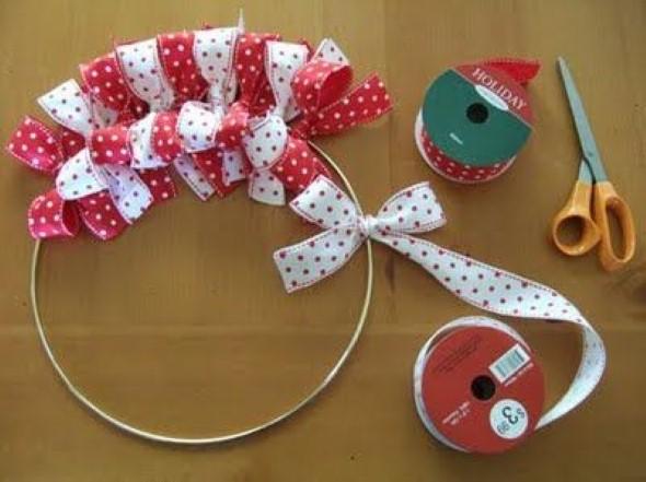 Laços de fita decorativos para o Natal 012