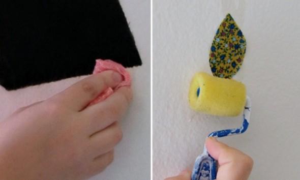 Adesivo de parede com sobras de tecido 009
