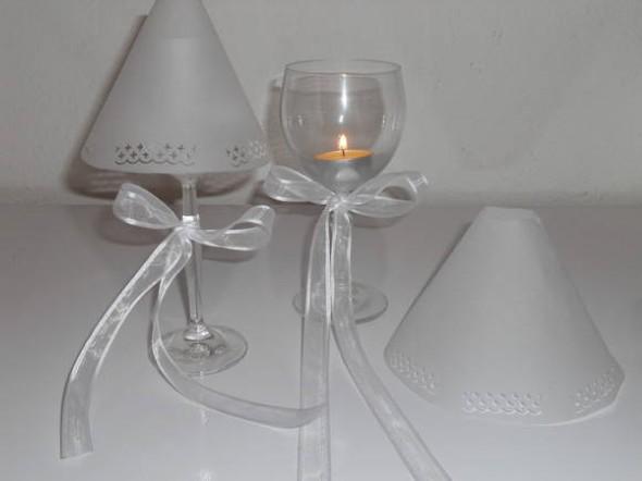 Como fazer uma luminária com taça de vidro 008