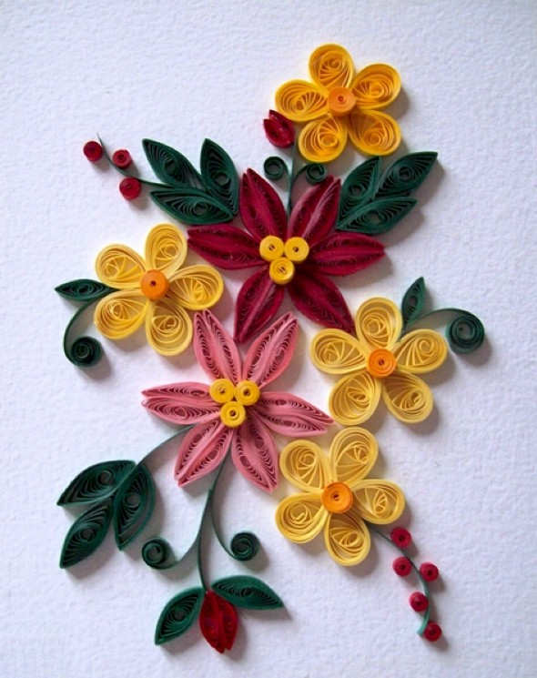 Flores artesanais de quilling 004