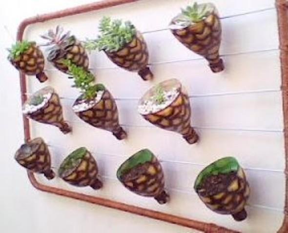 Horta feita com garrafas PET 002