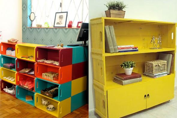 Artesanato com caixotes de madeira 001