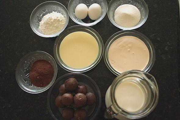 Alguns ingredientes do bolo sonho de valsa.