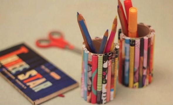 Porta lápis artesanal 005