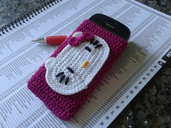 Como fazer porta celular de crochê 009