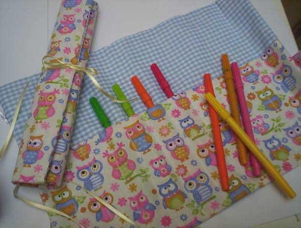 Como fazer bolsinha porta lápis em tecido 002
