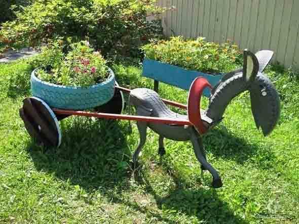 Reciclagem criativa para enfeitar o jardim  002