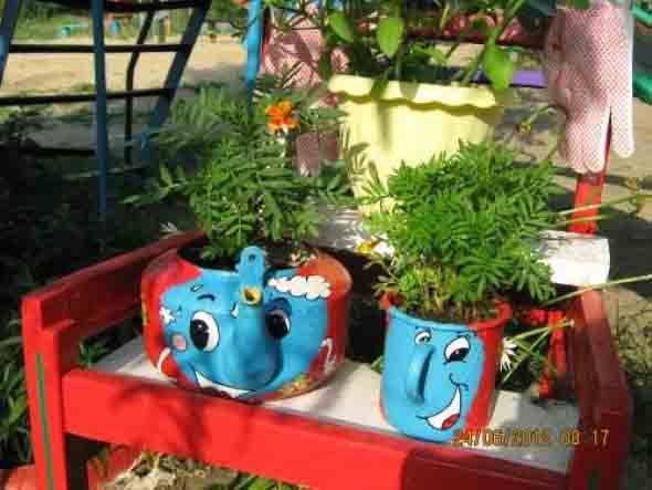 Reciclagem criativa para enfeitar o jardim  003