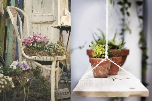 Reciclagem criativa para enfeitar o jardim  005