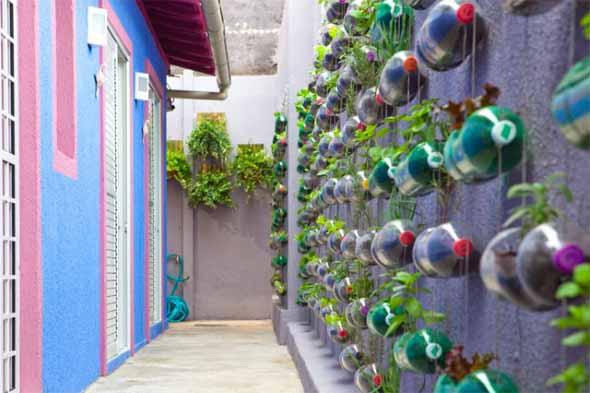 Reciclagem criativa para enfeitar o jardim  006