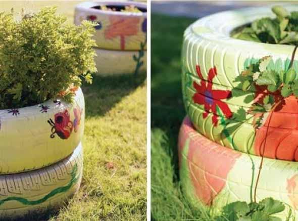 Reciclagem criativa para enfeitar o jardim  007
