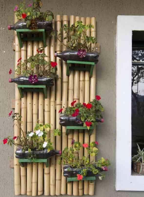 Reciclagem criativa para enfeitar o jardim  010