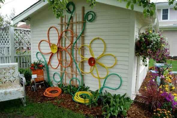 Reciclagem criativa para enfeitar o jardim  013