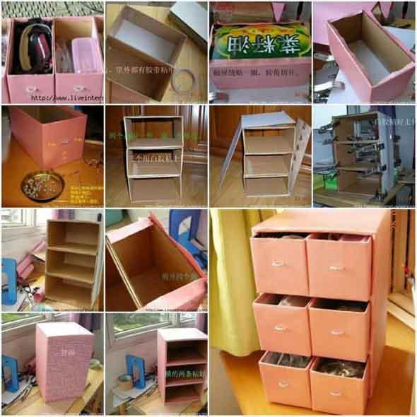 Como fazer organizador com caixas de papelão 002