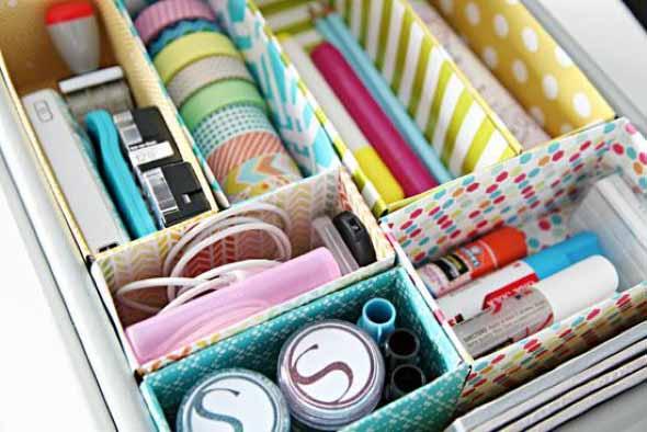 Como fazer organizador com caixas de papelão 014