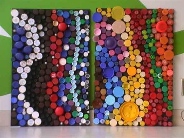 Artesanato com tampinhas de garrafa 008